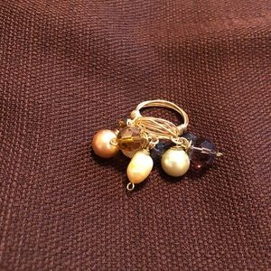 Wire Wrapped Pearls and Crystals Dangle Ring 7